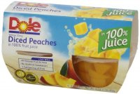 Dole Fruit Bowls Peaches 4oz. EA 4CT 16oz PKG