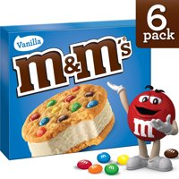 M&M's Vanilla Cookie Ice Cream Sandwiches 6CT 24oz Box