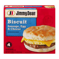 Jimmy Dean Biscuit Sandwiches Sausage, Egg and Cheese Meal Size 4CT 18oz Box