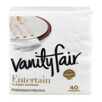 Vanity Fair Premium Quality Napkins White 3Ply 40CT