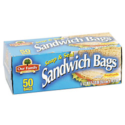 Store Brand Resealable Sandwich Bags 50CT