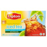 Lipton Iced Tea Brew Decaffeinated Family Size Bags 48CT 10.5oz PKG