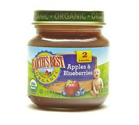 Earth's Best Organic Baby Food 2nd Apples and Blueberries 4oz. Jar
