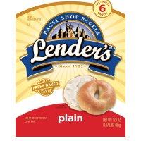 Lender's Premium Refrigerated Bagels Plain 6CT 17.1oz Bag