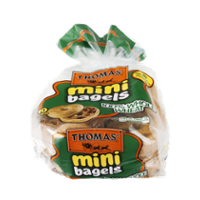 Thomas' Mini Bagels Whole Wheat 10CT 15oz PKG product image