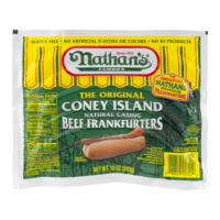 Nathan's Original Coney Island Beef Franks Natural Casing 5CT Hot Dogs 10oz PKG