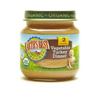 Earth's Best Organic Baby Food 2nd Vegetable Turkey Dinner 4oz. Jar