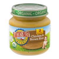 Earth's Best Organic Baby Food 2nd Chicken & Brown Rice 4oz Jar product image