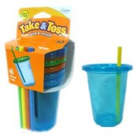 First Years Take & Toss 10oz Straw Cup Lids 4 Pack