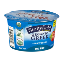 Stonyfield Organic Greek 0% Fat Yogurt Strawberry  5.3oz Cups