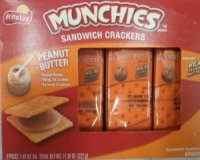 Munchies Peanut Butter on Cheese Sandwich Crackers 1.42oz PKG 8ct Box