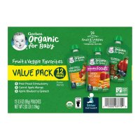 Gerber 2nd Organic Fruit & Veggie Pouches Variety Pk 12CT 31.5oz Box