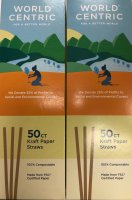 World Centric 100% Compostable Kraft Paper Straws 50CT product image