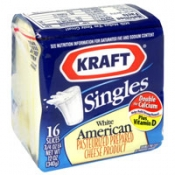 Kraft Cheese White American Singles 16CT 12oz PKG