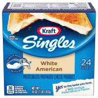 Kraft Cheese White American Singles 24CT 16oz PKG