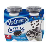 YoCrunch Low Fat Cookies n' Cream Yogurt with Oreo Toppings 4Pack of 4oz Cups product image