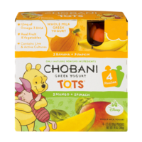 Chobani Tots Greek Yogurt Banana + Pumpkin/Mango + Spinach 4CT 3.5oz Pouches product image