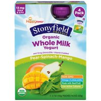 Stonyfield Whole Milk Pear-Spinach-Mango Yogurt 4PK 3.5oz Pouches product image