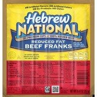 Hebrew National Beef Franks Reduced Fat 6CT 9.43oz PKG product image