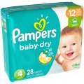 Pampers Baby Dry Size 4 (22-37LB) Jumbo Pack 28CT PKG