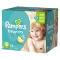 Pampers Baby Dry Diapers Size 6 (Over 35LB) 64CT PKG