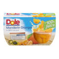 Dole Fruit Bowls Mandarin Oranges in 100 percent Juice 4oz. EA 4CT 16oz PKG