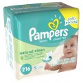 Pampers Baby Wipes Natural Clean Unscented Refill 216CT