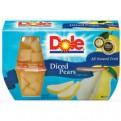 Dole Fruit Bowls Diced Pears in Juice 4oz EA 4CT 16oz PKG
