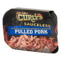 Curly's Sauceless Pulled Pork Naturally Hickory Smoked and Seasoned 12oz Tub